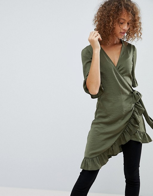 ASOS Longline Wrap Top with Ruffle