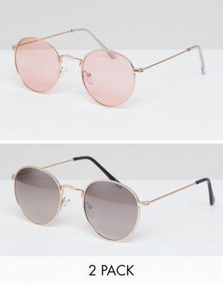 ASOS - Lot de 2 lunettes de soleil rondes - Doré et métal or rose - Économie