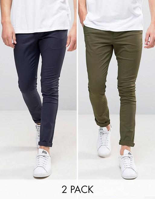 ASOS - Lot de 2 pantalons chino super ajustés - Bleu marine et kaki ÉCONOMIE