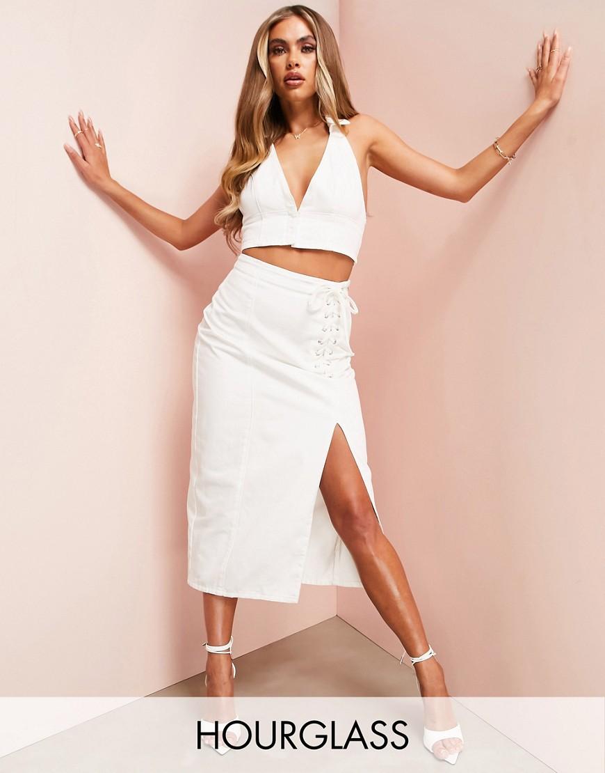 Hourglass matching denim lace up midi skirt in ecru-White