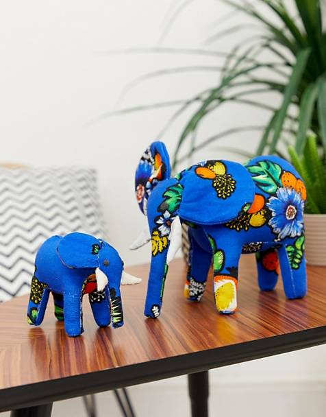 ASOS MADE IN KENYA 2 pack handmade elephant ornaments