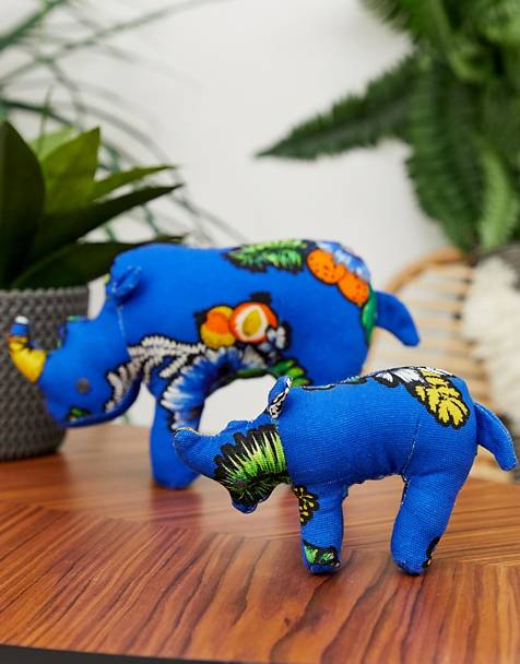 ASOS MADE IN KENYA 2 pack handmade rhino ornaments