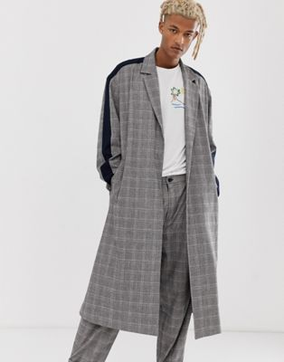 ASOS MADE IN KENYA check duster overcoat with side stripe