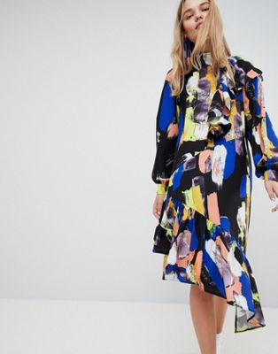 ASOS Made In Kenya Funnel Neck Midi Dress In Painterly Print