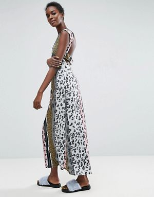 ASOS Made In Kenya Leopard Maxi Dress With Cut Out Back