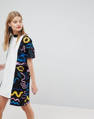 ASOS Made In Kenya Oversized T-Shirt Dress With Contrast Doodle Print Panel