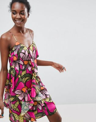 ASOS Made In Kenya Ruffle Cami Dress In Tropical Floral Print