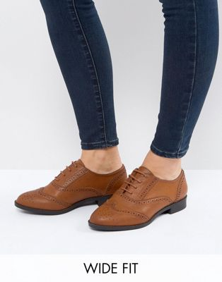 ASOS MANIC Wide Fit Flat Brogues in Water Based PU