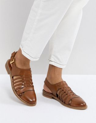ASOS MARYLEBONE Leather Woven Flat Shoes