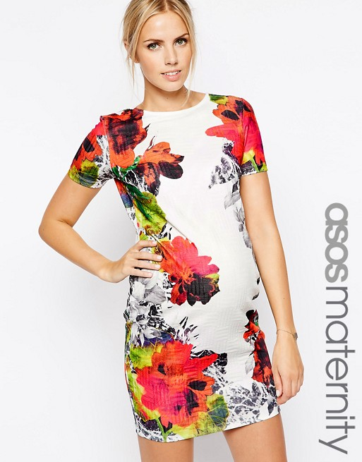 9c8fb0c2c1464 Home; ASOS Maternity Exclusive Textured Bodycon Dress in Multi Mirror  Floral Print. image.AlternateText