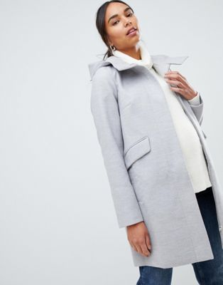 ASOS MATERNITY Hooded Slim Coat with Zip Front