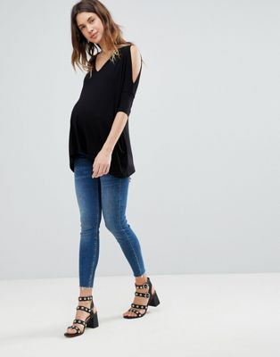 ASOS Maternity Oversized Cold Shoulder Top with Asymmetric Hem
