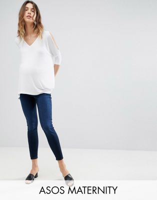 ASOS MATERNITY RIDLEY High Waist Skinny Jeans In Vivienne Blue Black Wash with Under the Bump Waistband