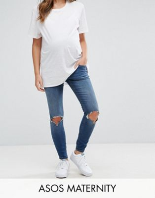 Image 1 of ASOS MATERNITY RIDLEY Skinny Jeans In Roy Dark Stonewash with Busted Knees