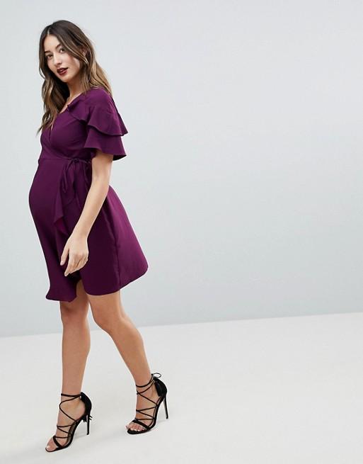 ASOS Maternity - Robe portefeuille courte avec manches à volants
