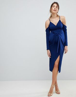 Image 1 of ASOS MATERNITY Slinky Wrap Cold Shoulder Midi Dress