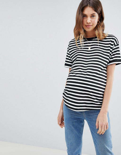 ASOS Maternity stripe t-shirt with roll sleeve