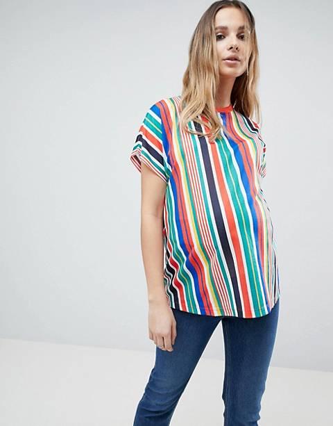 ASOS MATERNITY T-Shirt In Vertical Rainbow Stripe