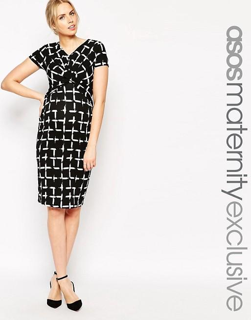 9d9365d533770 ASOS Maternity Textured Bodycon Dress In Check Print | ASOS