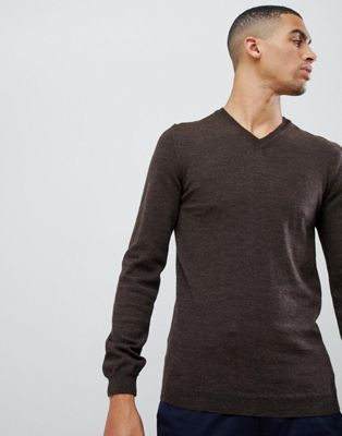 Image 1 of ASOS Merino V-Neck Sweater In Brown
