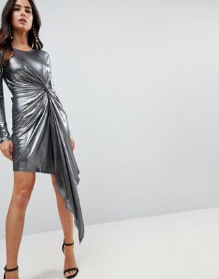 ASOS Metallic Bodycon Knot Front Slinky Mini Dress