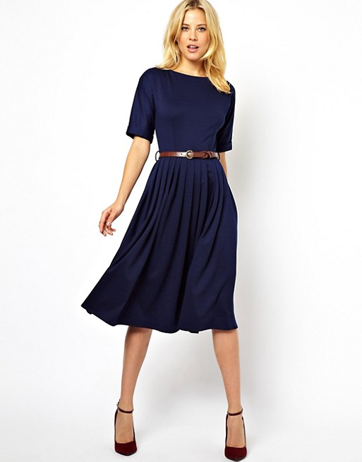 Image 1 of ASOS Midi Dress With Full Skirt And Belt