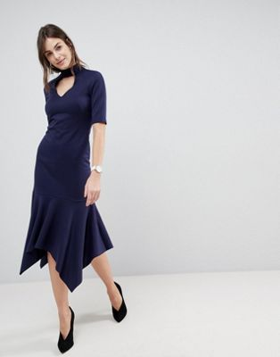 ASOS Midi Dress With Pep Hem and Collar