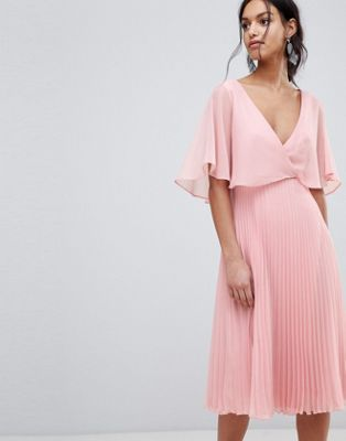 ASOS Midi Dress with Pleat Skirt and Flutter Sleeve