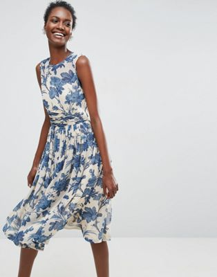 Image 1 of ASOS Midi Dress With Ruched Panel Detail in China Blue Print