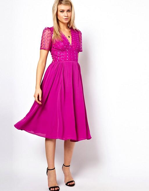 ASOS - Midi-jurk met geborduurde kanten top