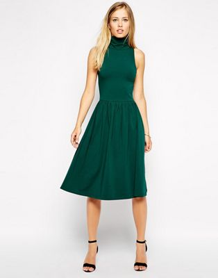 Image 1 of ASOS Midi Skater Dress with Turtleneck