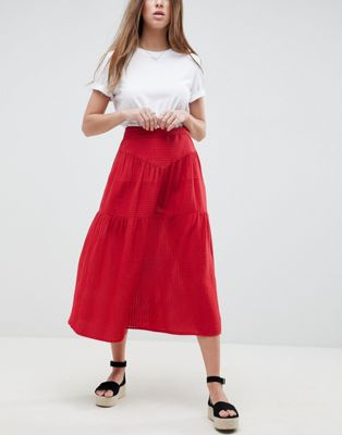 ASOS Midi Skirt with Tie Belt in Grid Texture