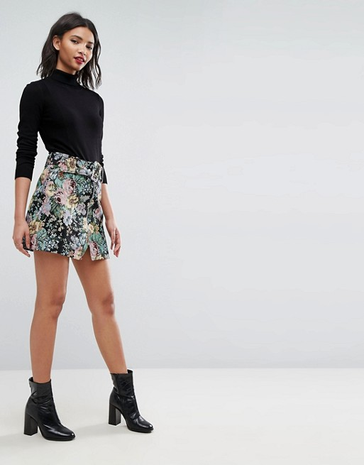 Image 1 of ASOS Mini Skirt in Floral Jacquard with Belt