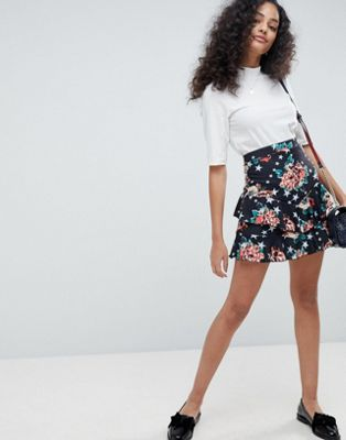 ASOS Mini Skirt in Rose and Star Print