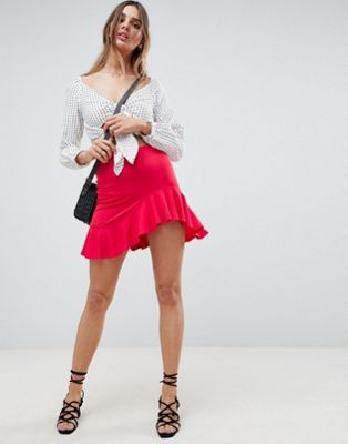 ASOS Mini Skirt with Curved Hem and Frill