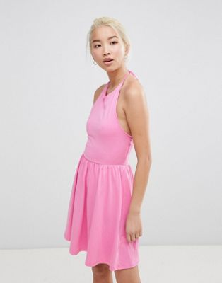 ASOS Mini Smock Sundress with Lace Up Back