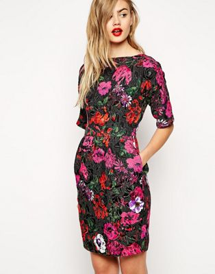 ASOS Mini Wiggle Dress in Bright Floral Jacquard