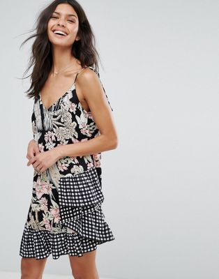 ASOS Mixed Print Sundress with Gingham Ruffle Hem
