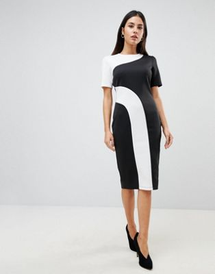 ASOS Mono Colour Block Midi T-Shirt Dress