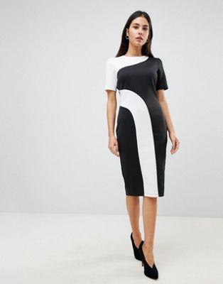 ASOS Mono Colour Block Midi T-Shirt Dress