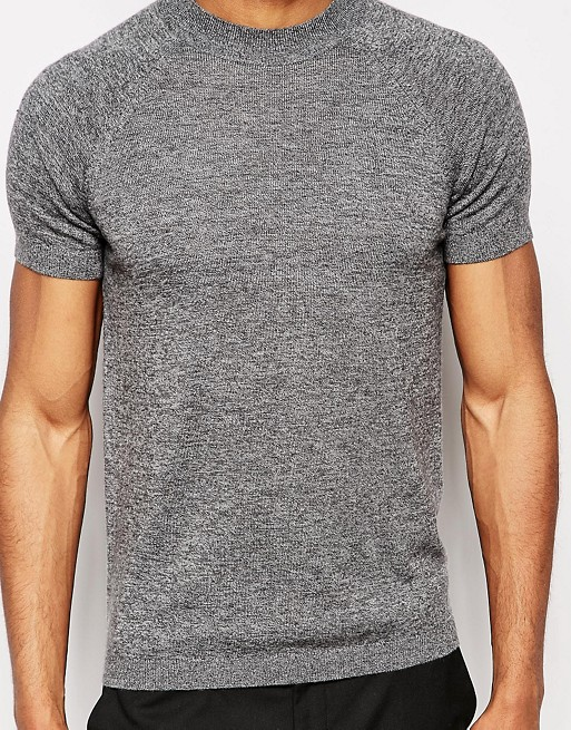ASOS Muscle Fit Knitted T-shirt in Merino Wool Mix