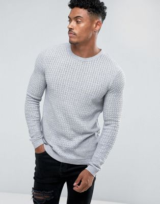 ASOS Muscle Fit Lightweight Cable Sweater In Gray