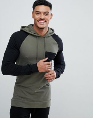 ASOS Muscle Fit Longline Hoodie With Contrast Raglan Sleeve In Khaki And Black
