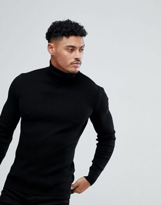 ASOS Muscle Fit Ribbed Roll Neck Jumper In Black