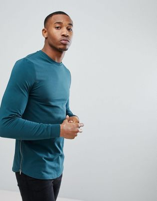 Image 1 of ASOS Muscle Longline Sweatshirt With Side Zips & Curved Hem In Teal