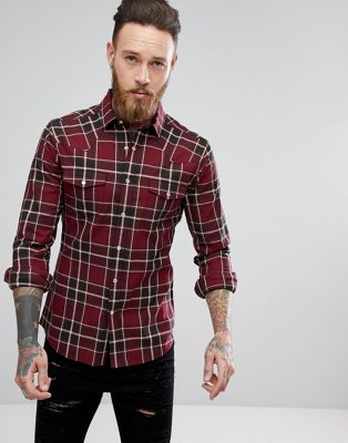 ASOS Muscle Western Check Shirt