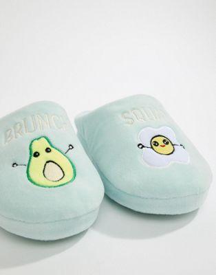 "ASOS - NOSH - Pantofole con motivo ""Brunch Squad"""