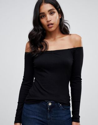ASOS Off Shoulder Top in Fitted Rib