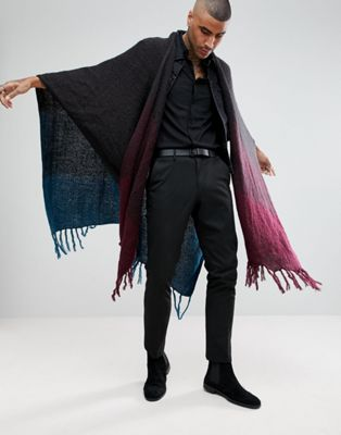 ASOS Ombre Cape In Teal And Burgundy Fade