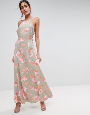 ASOS Open Back Maxi Dress In Pretty Floral